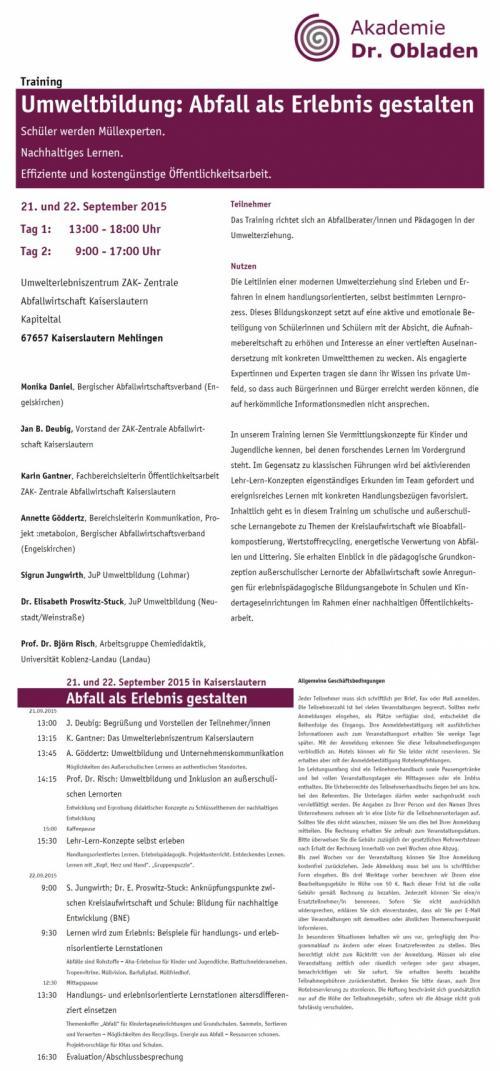 """Workshop """"Umweltbildung – Abfall als Erlebnis gestalten"""""""